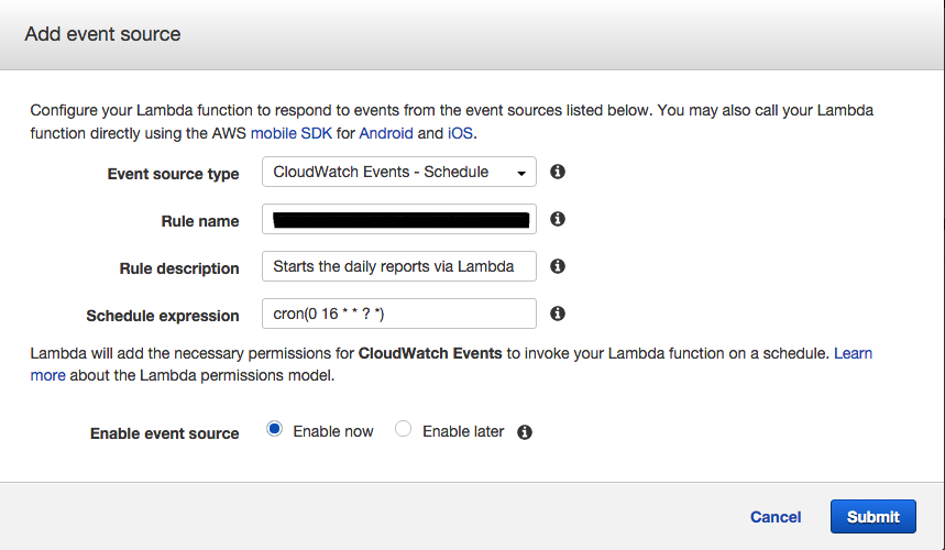 CloudWatch Events - Schedule dialog